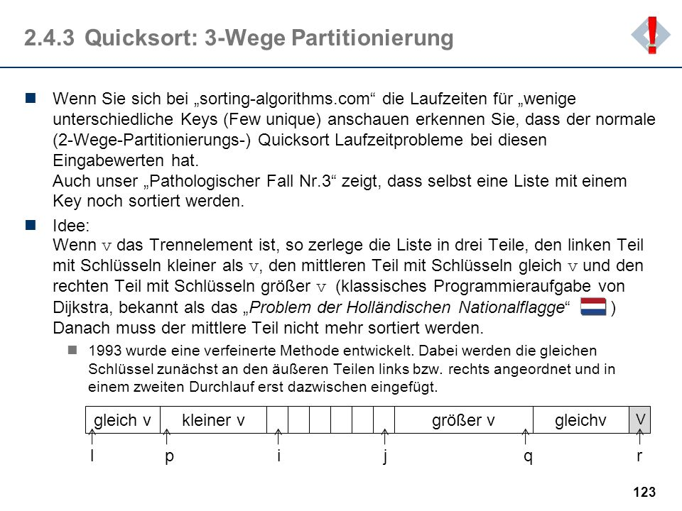 2.4.3 Quicksort: 3-Wege Partitionierung