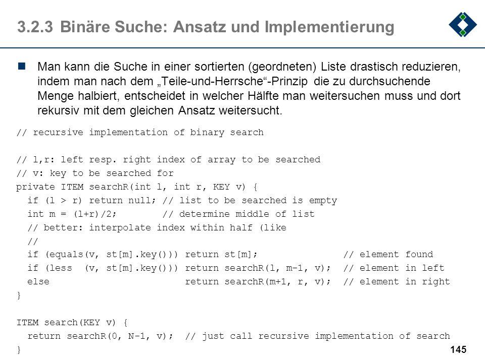 3.2.3 Binäre Suche: Ansatz und Implementierung