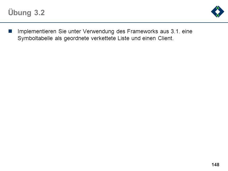 Übung 3.2 Implementieren Sie unter Verwendung des Frameworks aus 3.1.
