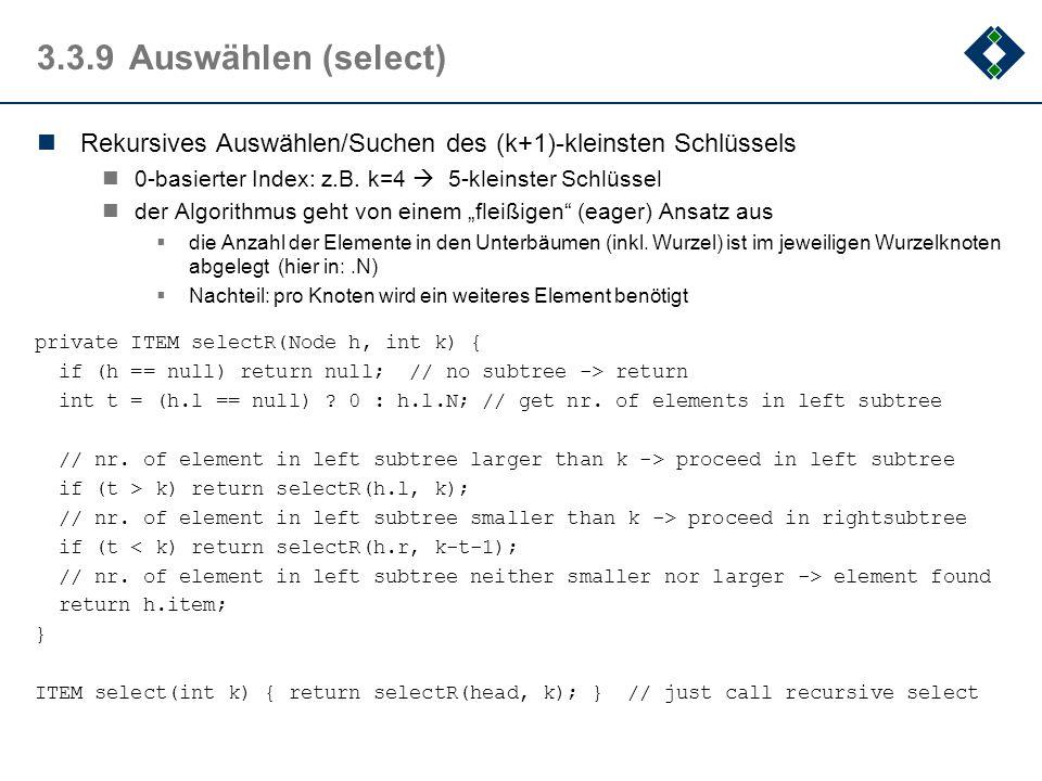 3.3.9 Auswählen (select) Rekursives Auswählen/Suchen des (k+1)-kleinsten Schlüssels. 0-basierter Index: z.B. k=4  5-kleinster Schlüssel.