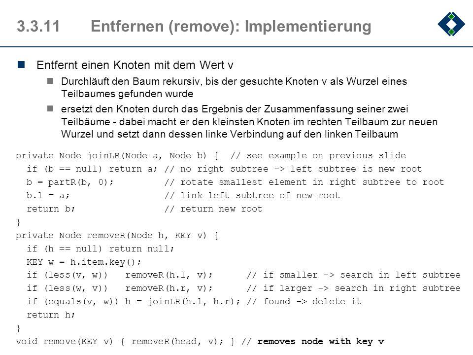 3.3.11 Entfernen (remove): Implementierung