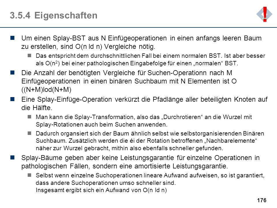 ! 3.5.4 Eigenschaften. Um einen Splay-BST aus N Einfügeoperationen in einen anfangs leeren Baum zu erstellen, sind O(n ld n) Vergleiche nötig.