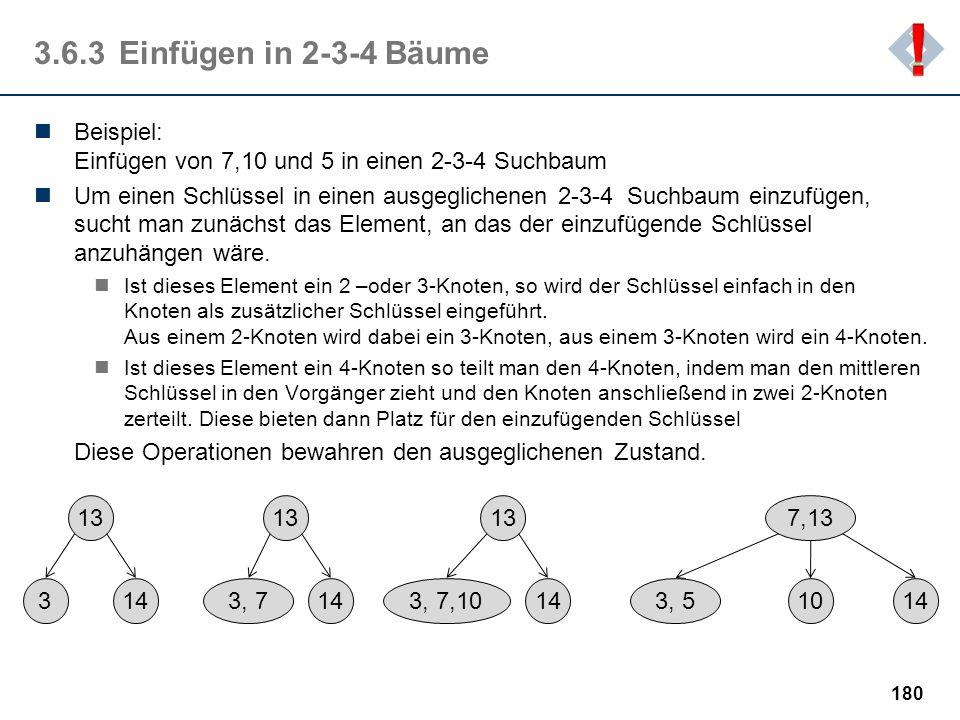 ! 3.6.3 Einfügen in 2-3-4 Bäume. Beispiel: Einfügen von 7,10 und 5 in einen 2-3-4 Suchbaum.