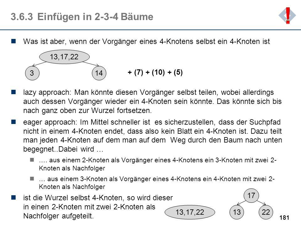 ! 3.6.3 Einfügen in 2-3-4 Bäume. Was ist aber, wenn der Vorgänger eines 4-Knotens selbst ein 4-Knoten ist.