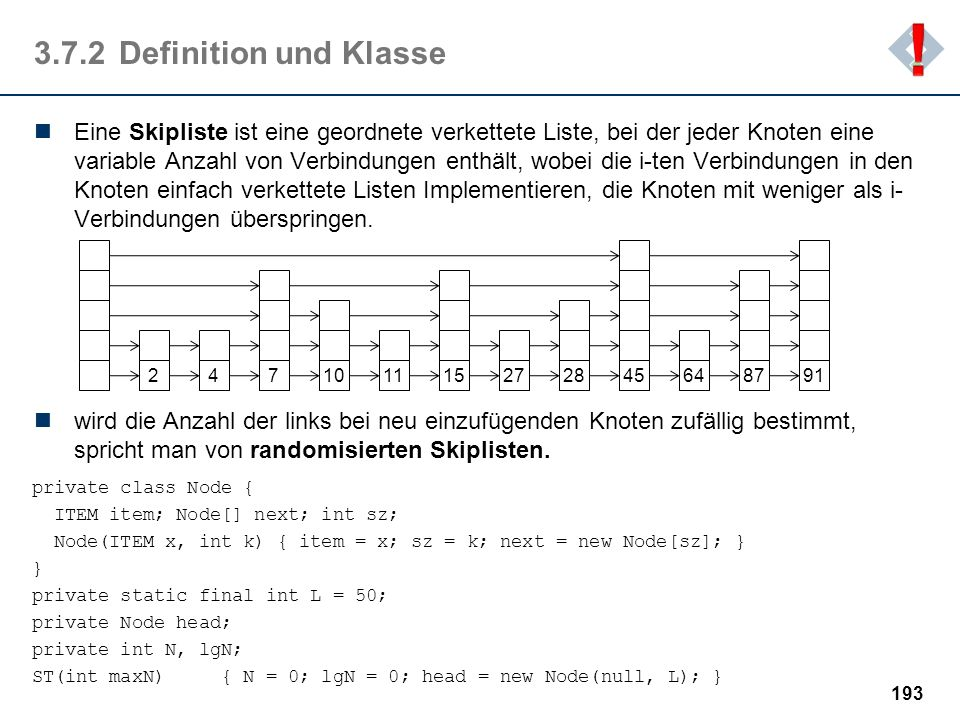 ! 3.7.2 Definition und Klasse.