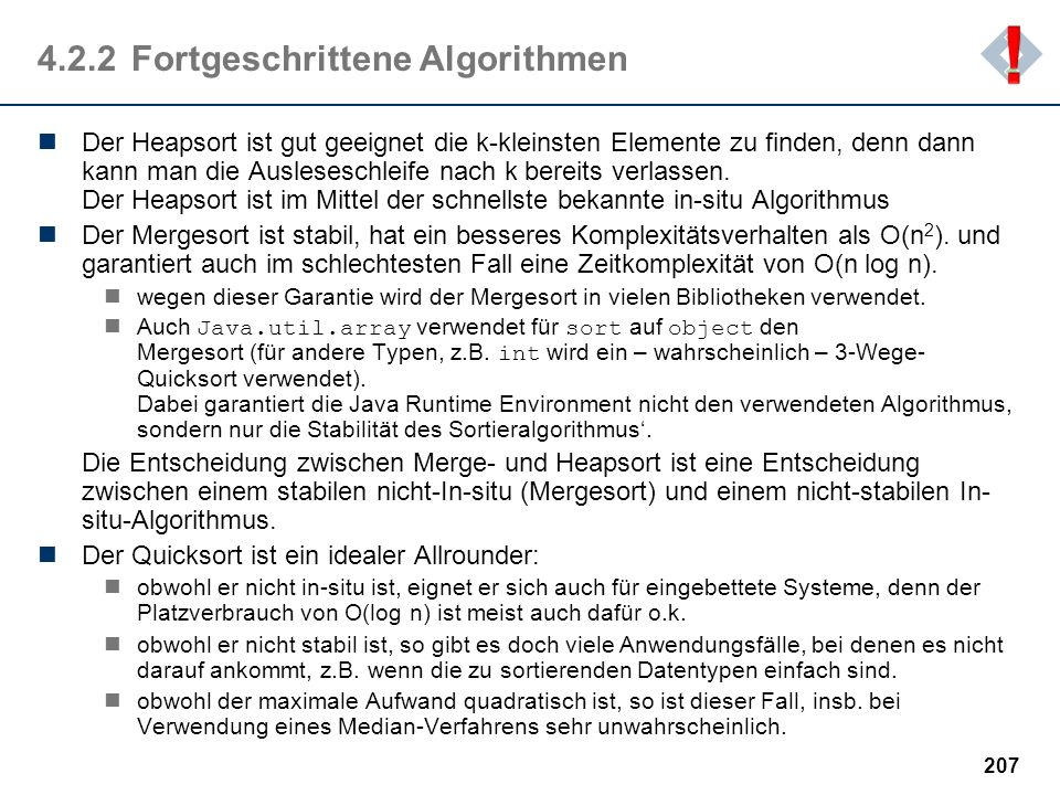 4.2.2 Fortgeschrittene Algorithmen