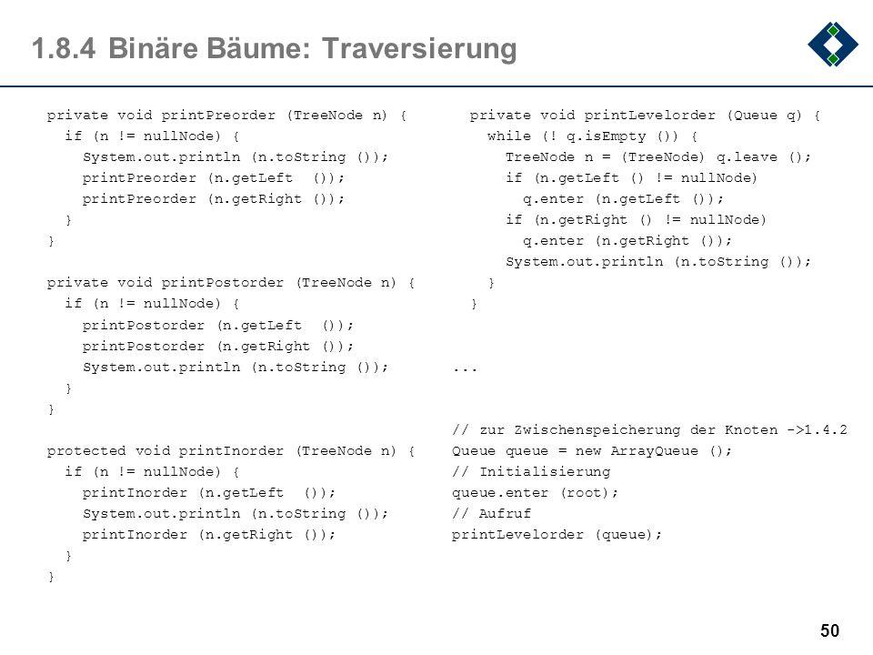 1.8.4 Binäre Bäume: Traversierung