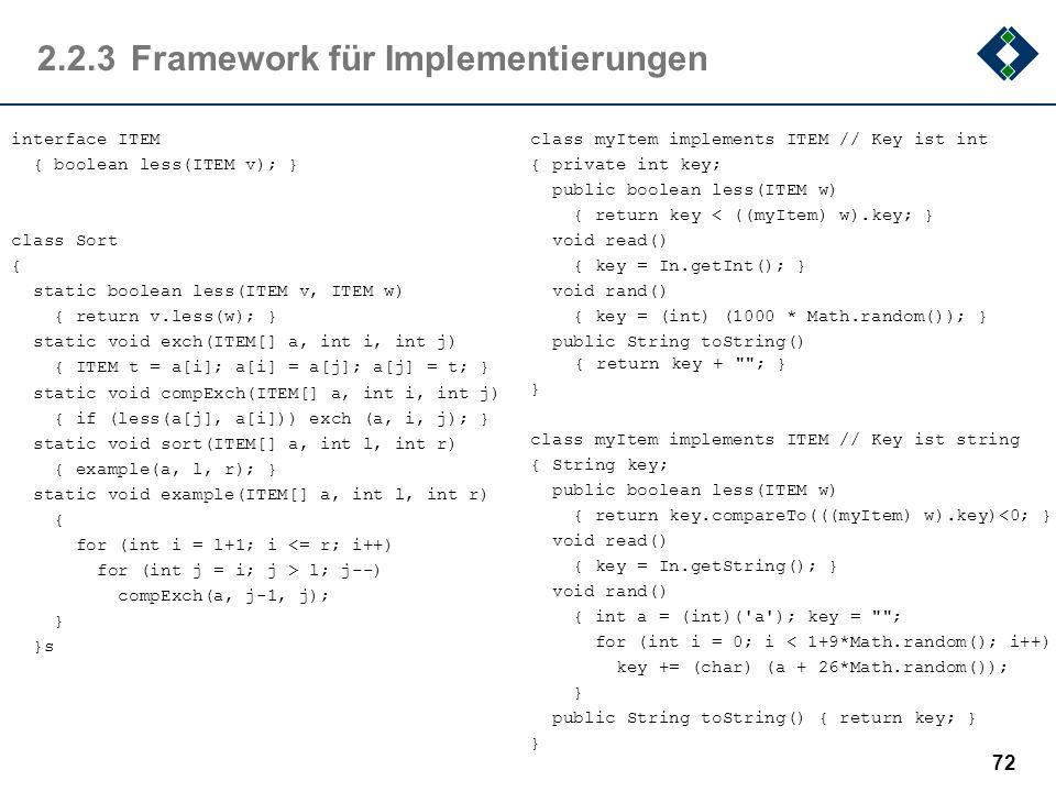 2.2.3 Framework für Implementierungen