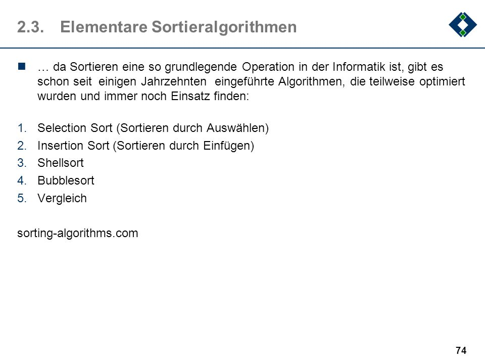 2.3. Elementare Sortieralgorithmen