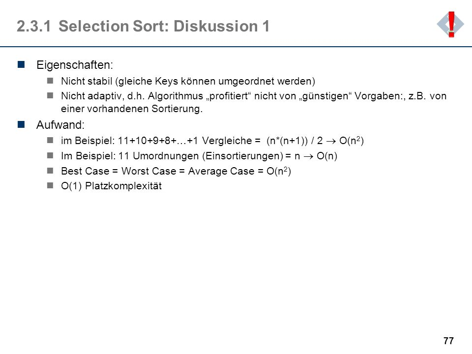 2.3.1 Selection Sort: Diskussion 1