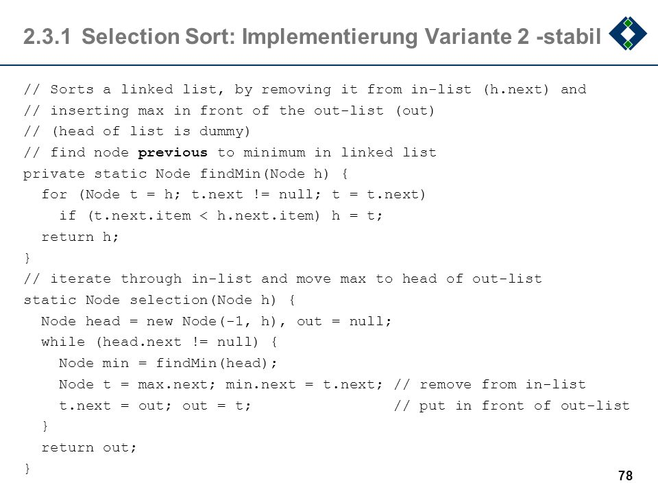 2.3.1 Selection Sort: Implementierung Variante 2 -stabil