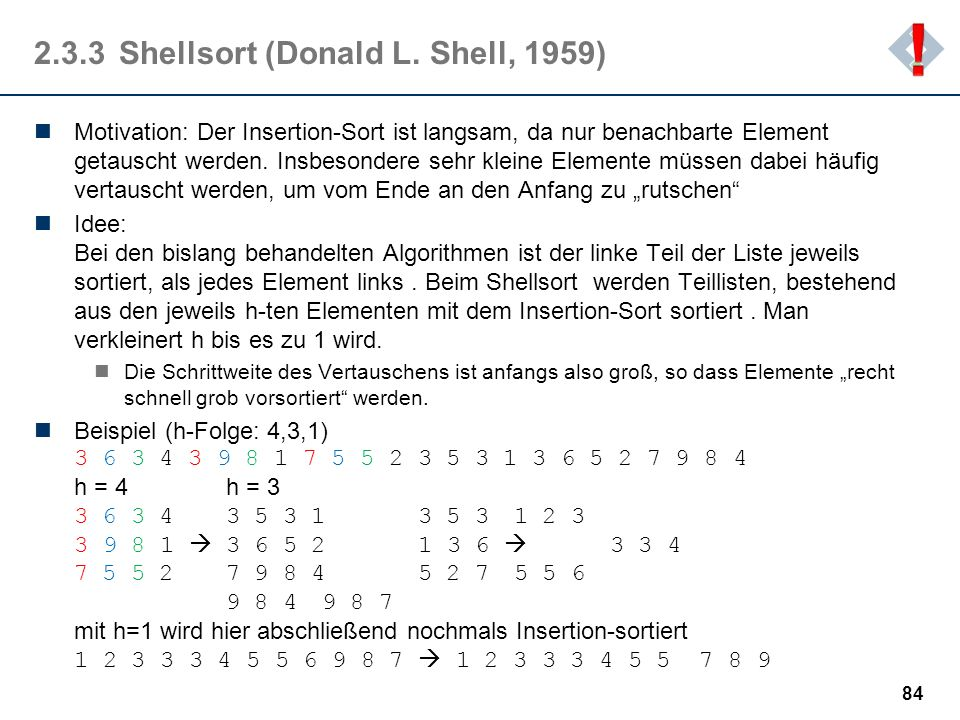 2.3.3 Shellsort (Donald L. Shell, 1959)