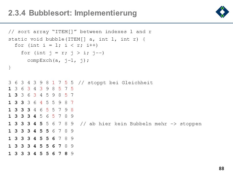 2.3.4 Bubblesort: Implementierung