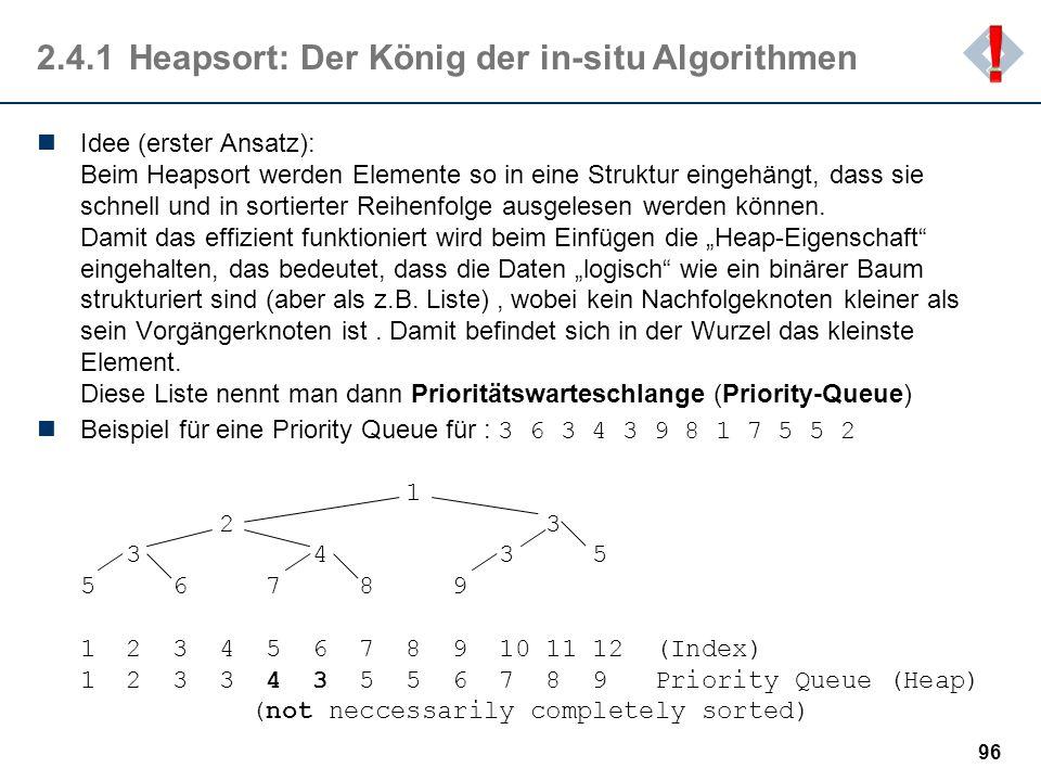 2.4.1 Heapsort: Der König der in-situ Algorithmen