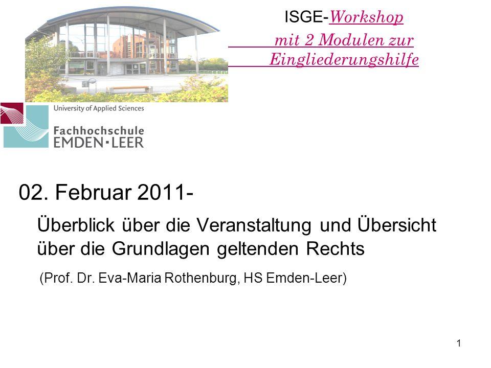 ISGE-Workshop mit 2 Modulen zur Eingliederungshilfe