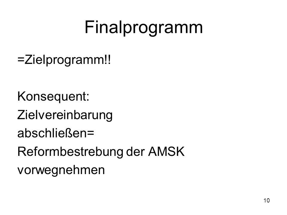 Finalprogramm =Zielprogramm!! Konsequent: Zielvereinbarung