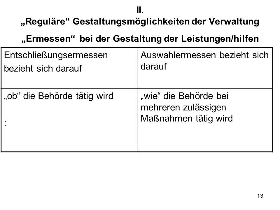 """II. """"Reguläre Gestaltungsmöglichkeiten der Verwaltung """"Ermessen bei der Gestaltung der Leistungen/hilfen"""