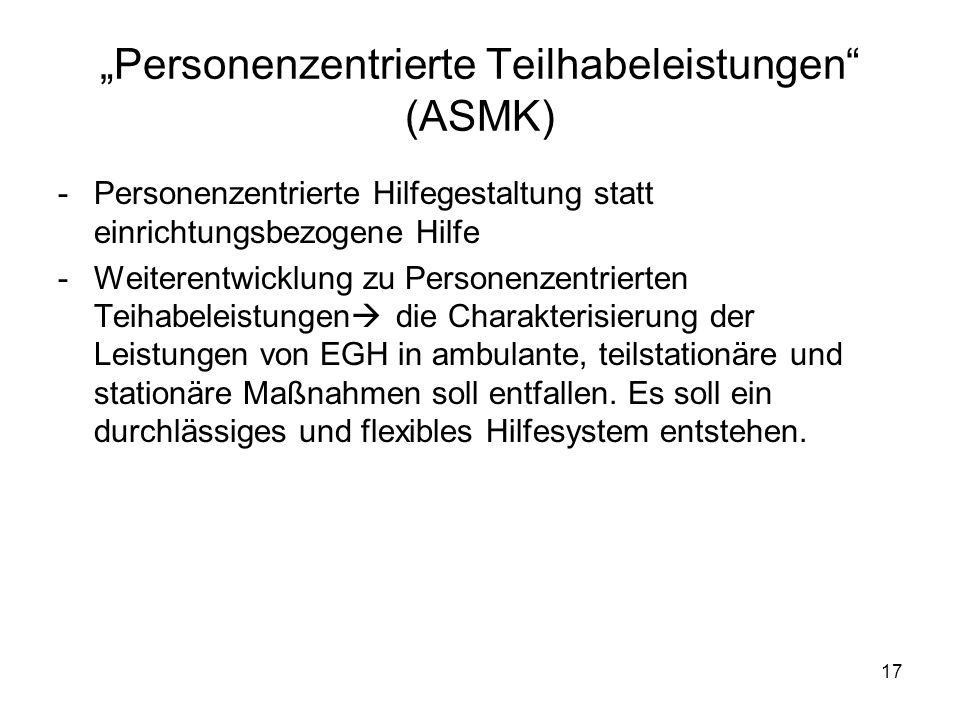 """""""Personenzentrierte Teilhabeleistungen (ASMK)"""