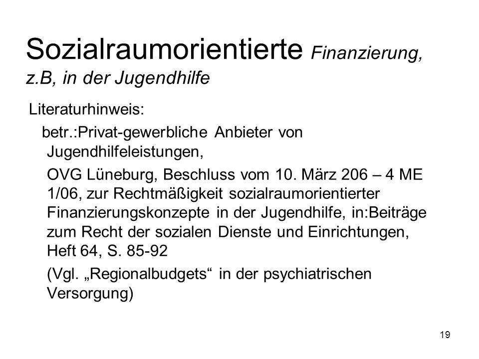 Sozialraumorientierte Finanzierung, z.B, in der Jugendhilfe