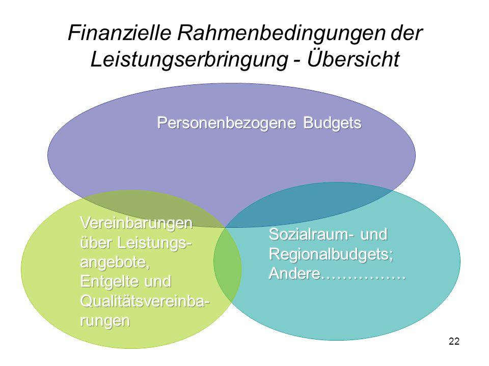 Finanzielle Rahmenbedingungen der Leistungserbringung - Übersicht