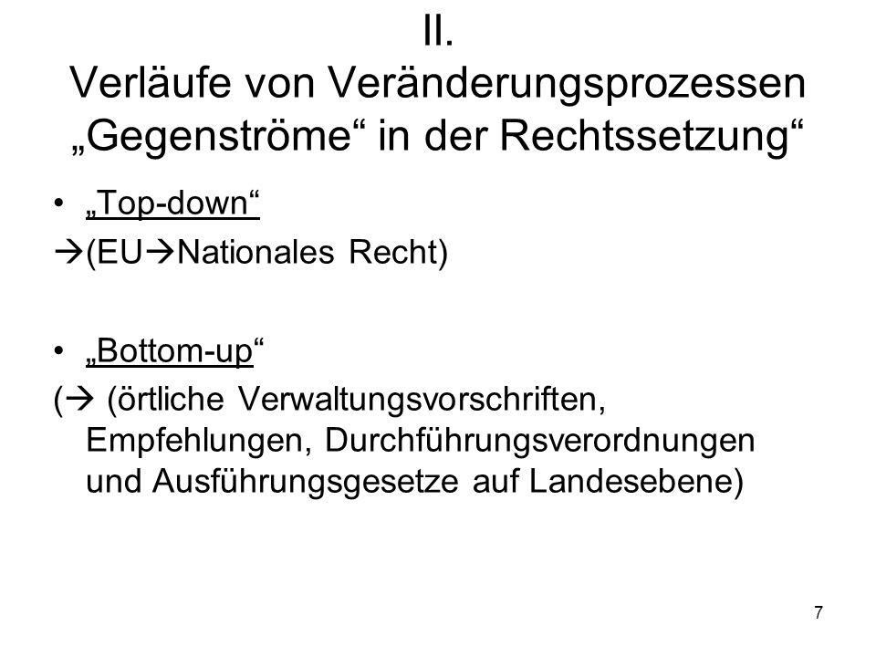 """II. Verläufe von Veränderungsprozessen """"Gegenströme in der Rechtssetzung"""