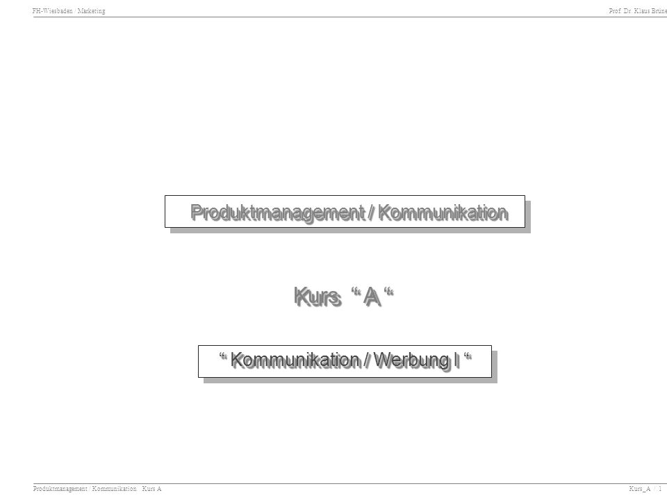 Kurs A Produktmanagement / Kommunikation