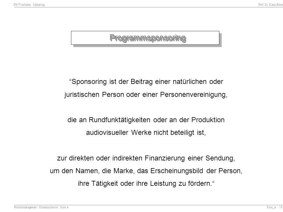 Programmsponsoring Sponsoring ist der Beitrag einer natürlichen oder
