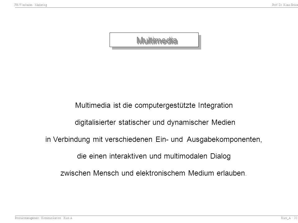 Multimedia Multimedia ist die computergestützte Integration