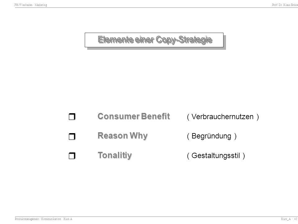 r r r Elemente einer Copy-Strategie