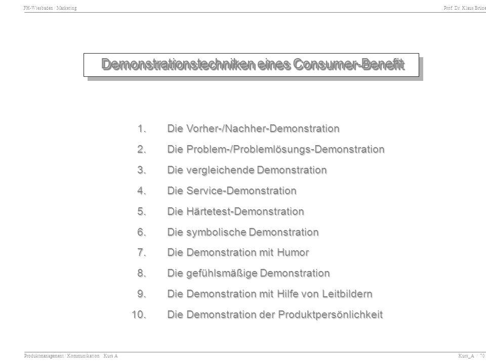 Demonstrationstechniken eines Consumer-Benefit