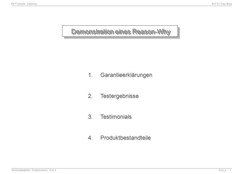 Demonstration eines Reason-Why