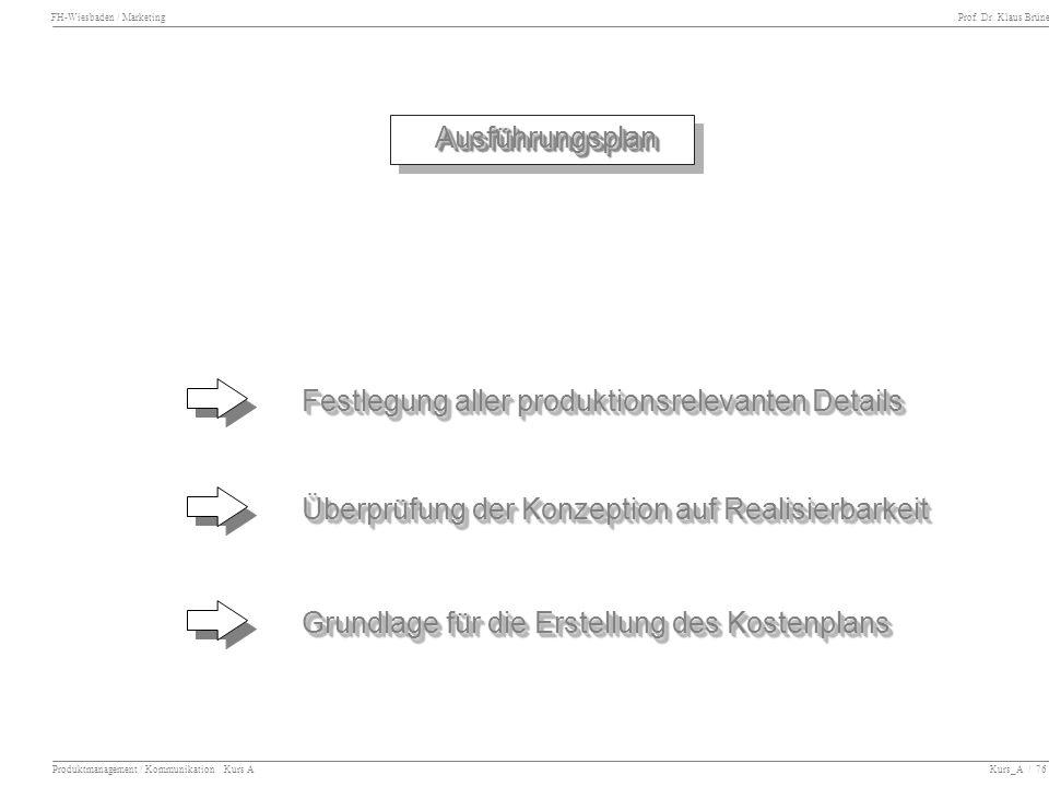 Festlegung aller produktionsrelevanten Details