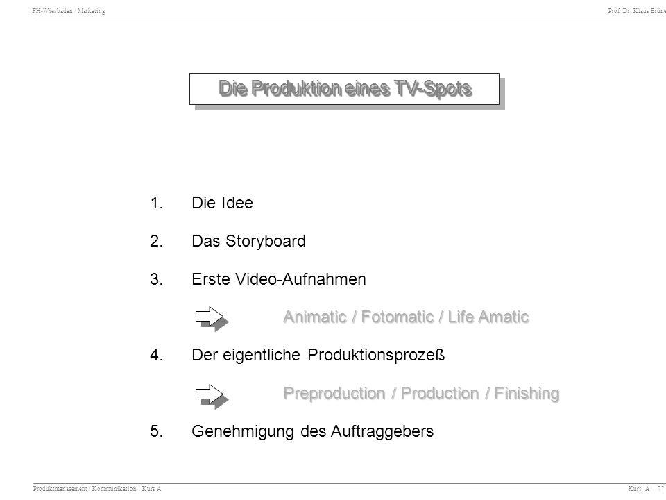 Die Produktion eines TV-Spots