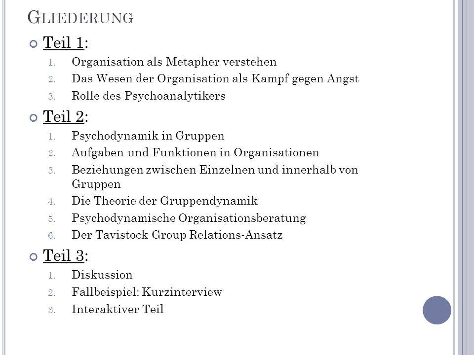 Gliederung Teil 1: Teil 2: Teil 3: Organisation als Metapher verstehen