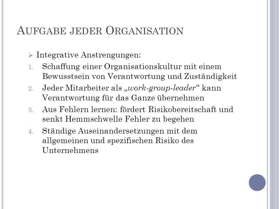 Aufgabe jeder Organisation