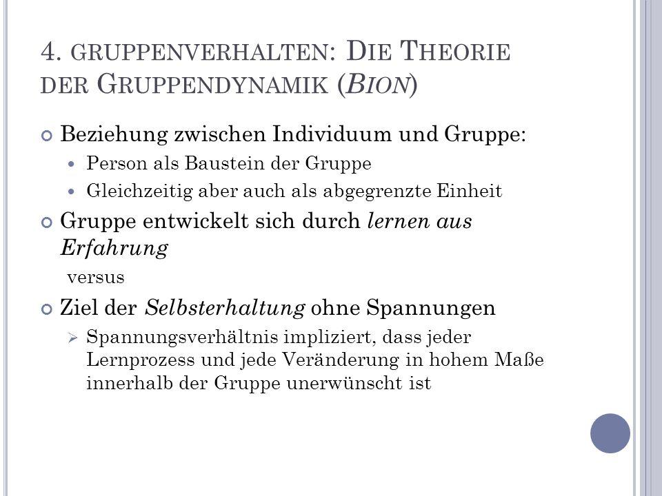 4. gruppenverhalten: Die Theorie der Gruppendynamik (Bion)