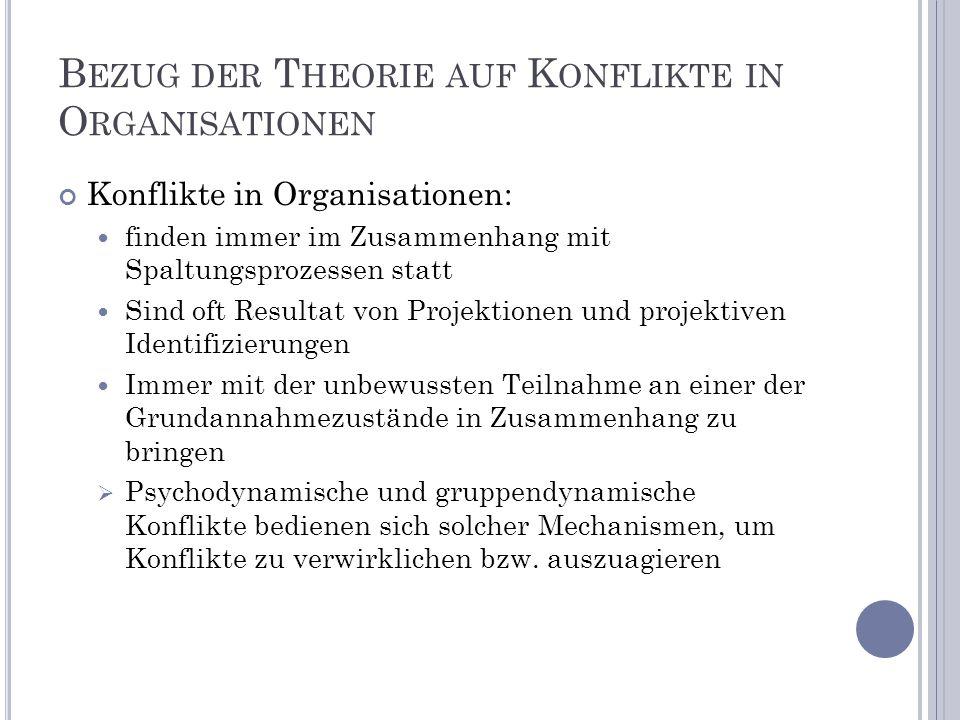 Bezug der Theorie auf Konflikte in Organisationen