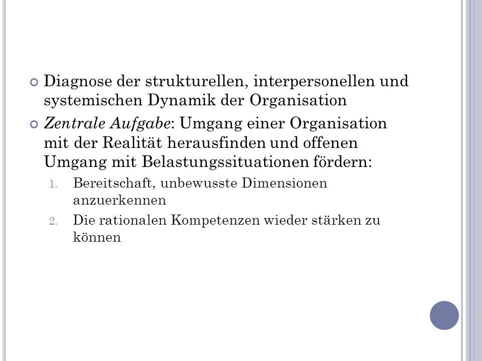 Diagnose der strukturellen, interpersonellen und systemischen Dynamik der Organisation
