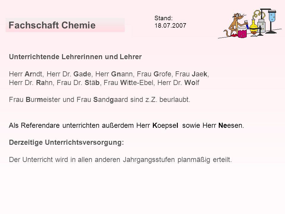 Fachschaft Chemie Unterrichtende Lehrerinnen und Lehrer