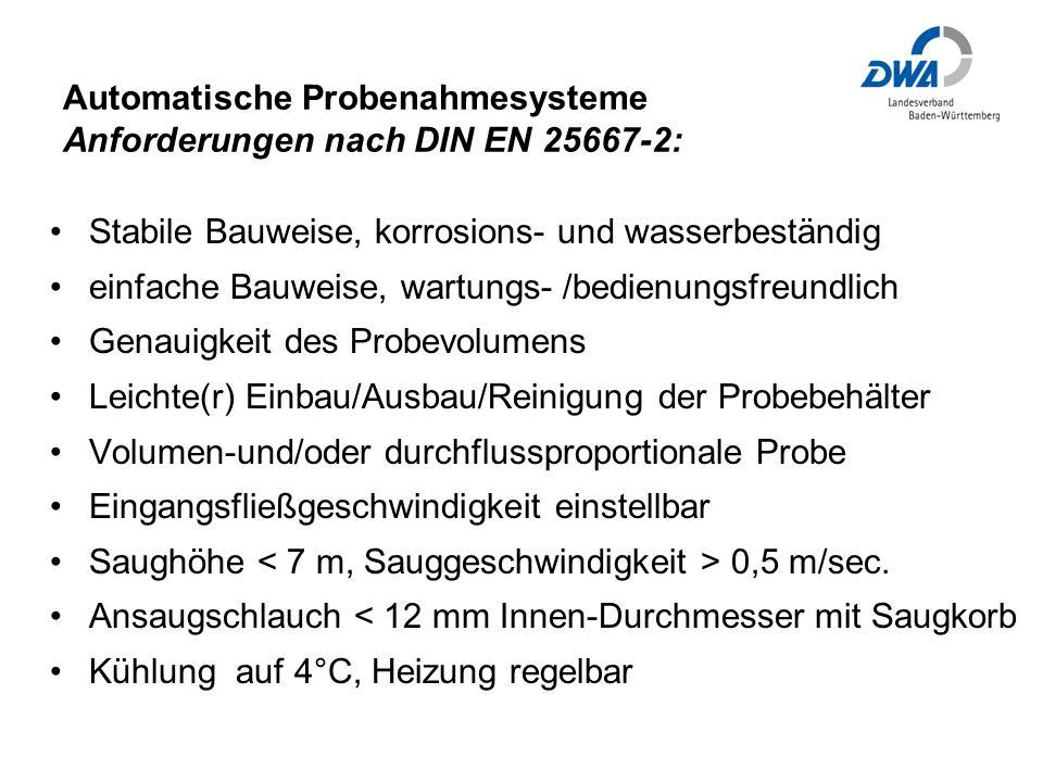 Automatische Probenahmesysteme Anforderungen nach DIN EN 25667-2:
