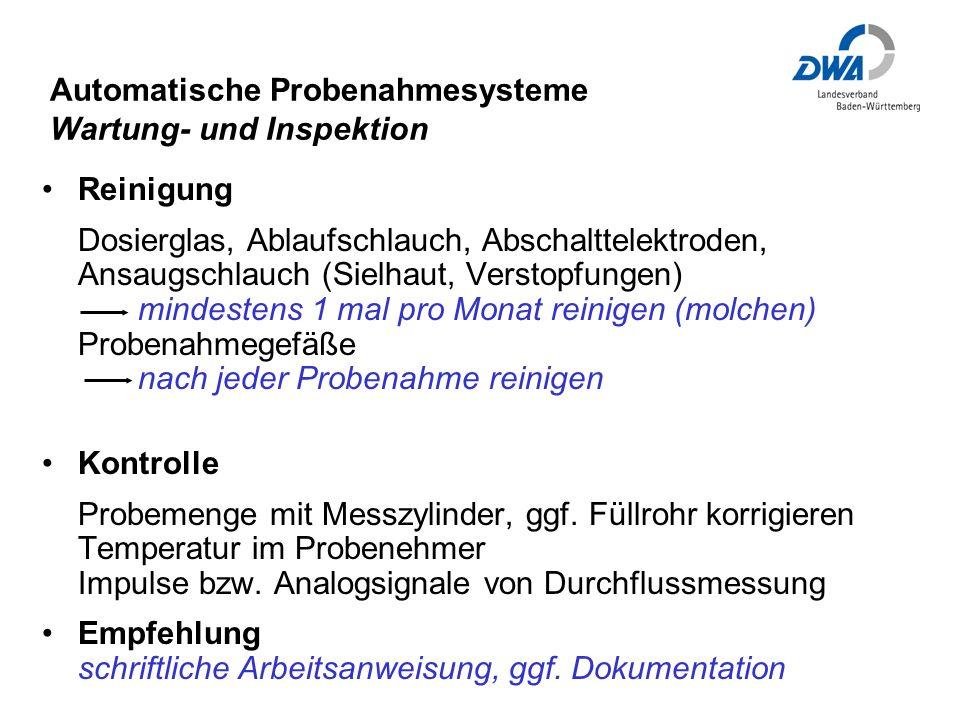 Automatische Probenahmesysteme Wartung- und Inspektion
