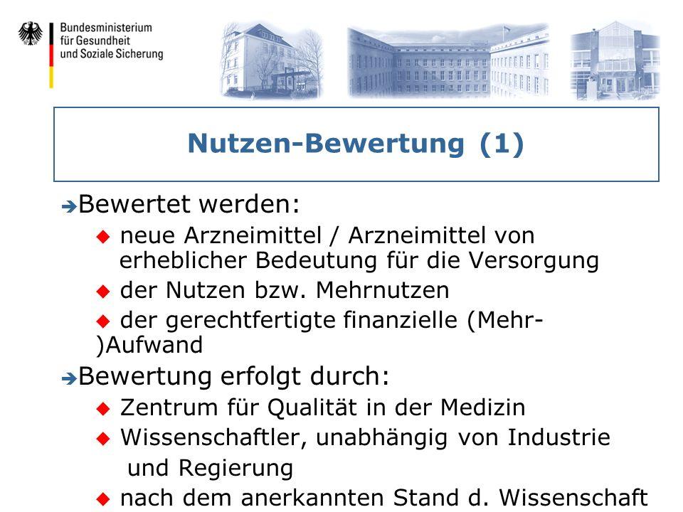 Nutzen-Bewertung (1) Bewertet werden: Bewertung erfolgt durch: