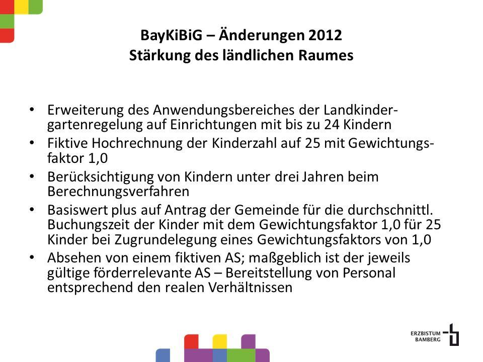 BayKiBiG – Änderungen 2012 Stärkung des ländlichen Raumes