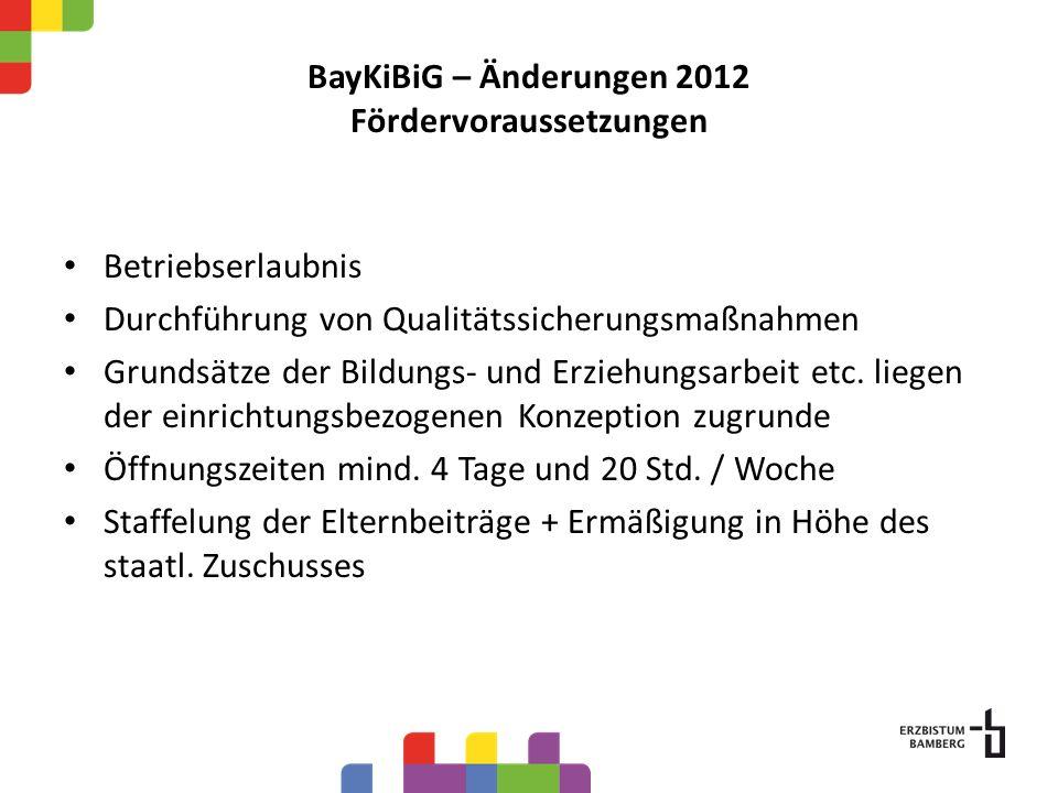 BayKiBiG – Änderungen 2012 Fördervoraussetzungen