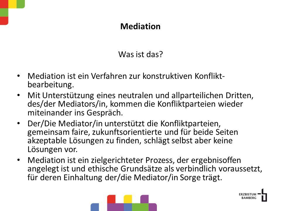 Mediation Was ist das Mediation ist ein Verfahren zur konstruktiven Konflikt-bearbeitung.