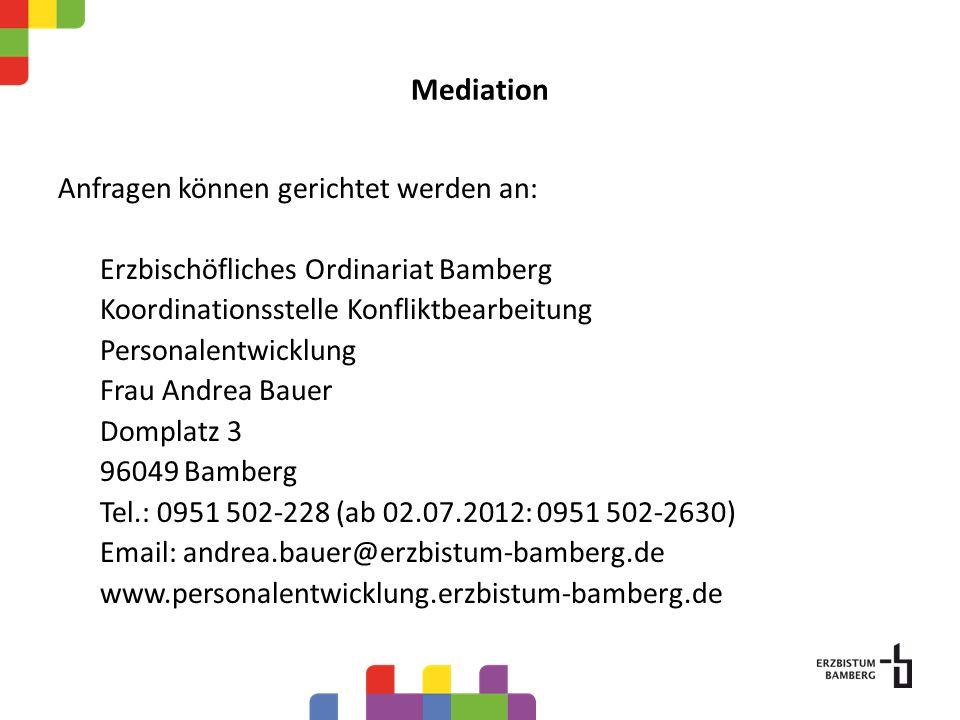 Mediation Anfragen können gerichtet werden an: