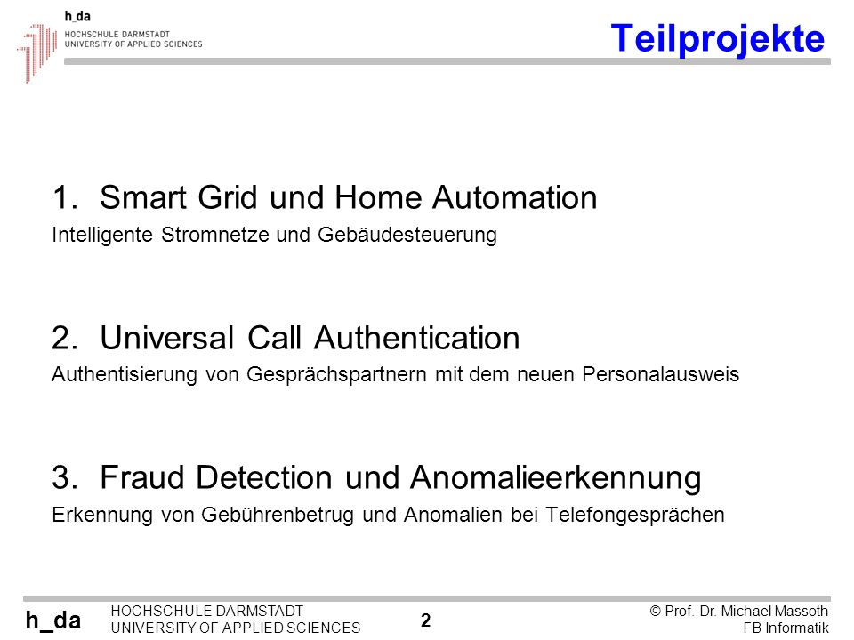 Teilprojekte Smart Grid und Home Automation