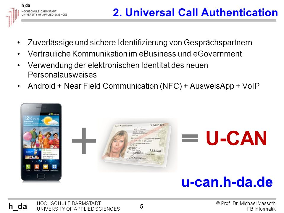 U-CAN u-can.h-da.de 2. Universal Call Authentication