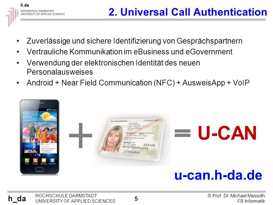 U-CAN u-can.h-da.de 2. Universal Call Authentication