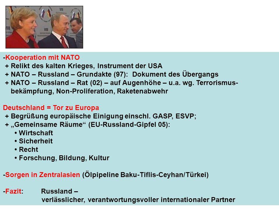 -Kooperation mit NATO + Relikt des kalten Krieges, Instrument der USA. + NATO – Russland – Grundakte (97): Dokument des Übergangs.